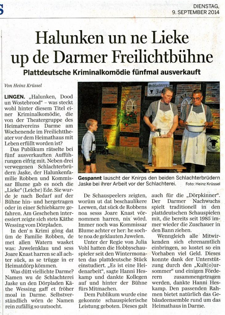LT - Bericht zum Freilichttheater 2014