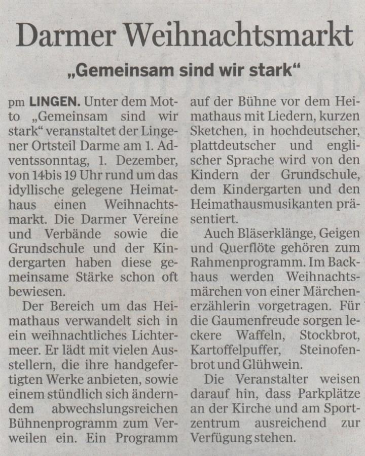 Zeitungsbericht, erster Weihnachtsmarkt in Darme | Heimatverein ...